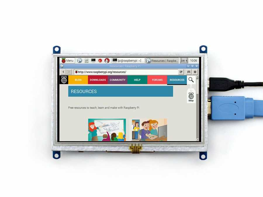 Raspberry 5inch HDMI LCD (B), 800×480, geniş platform desteği -WaveShare-