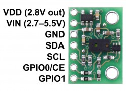 VL6180X Time-of-Flight Distance Sensor Carrier with Voltage Regulator - pololu - #2489 - Thumbnail