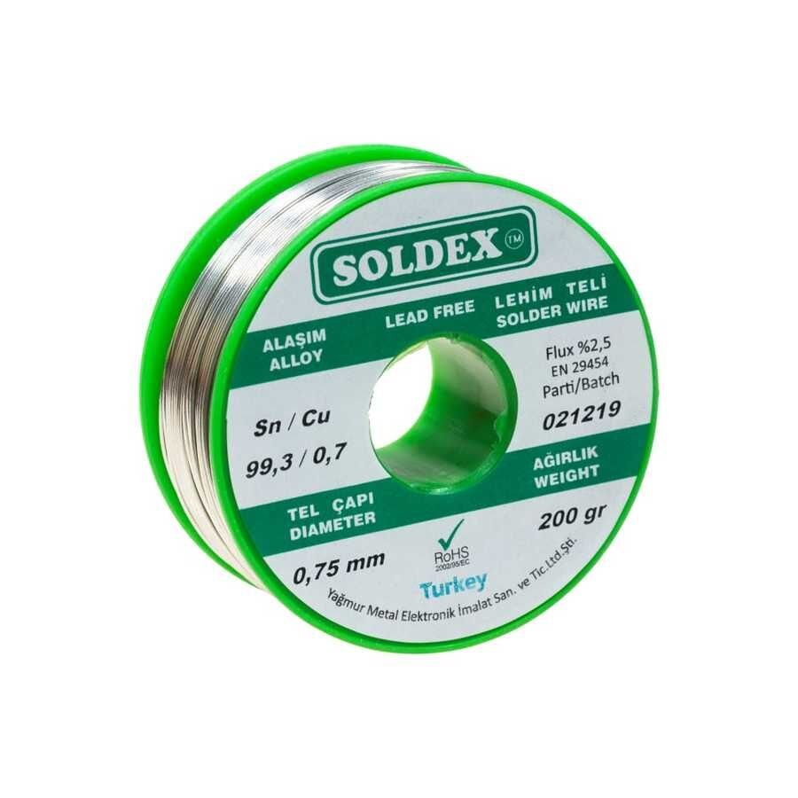0.75mm 200 gr Kurşunsuz Lehim Teli - Soldex