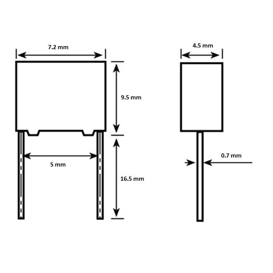 100nF 250Vdc 5% Polyester Kondansatör Mkt 5mm