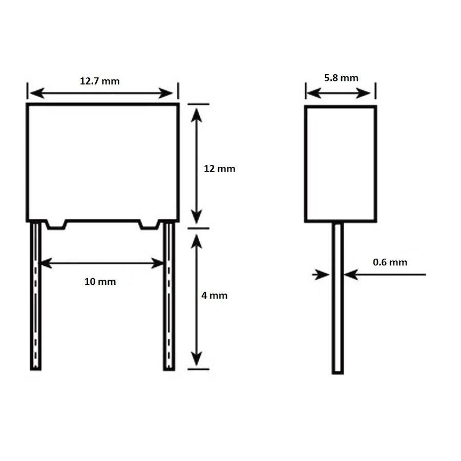 100nF 275Vac 10% Polyester Kondansatör 10mm
