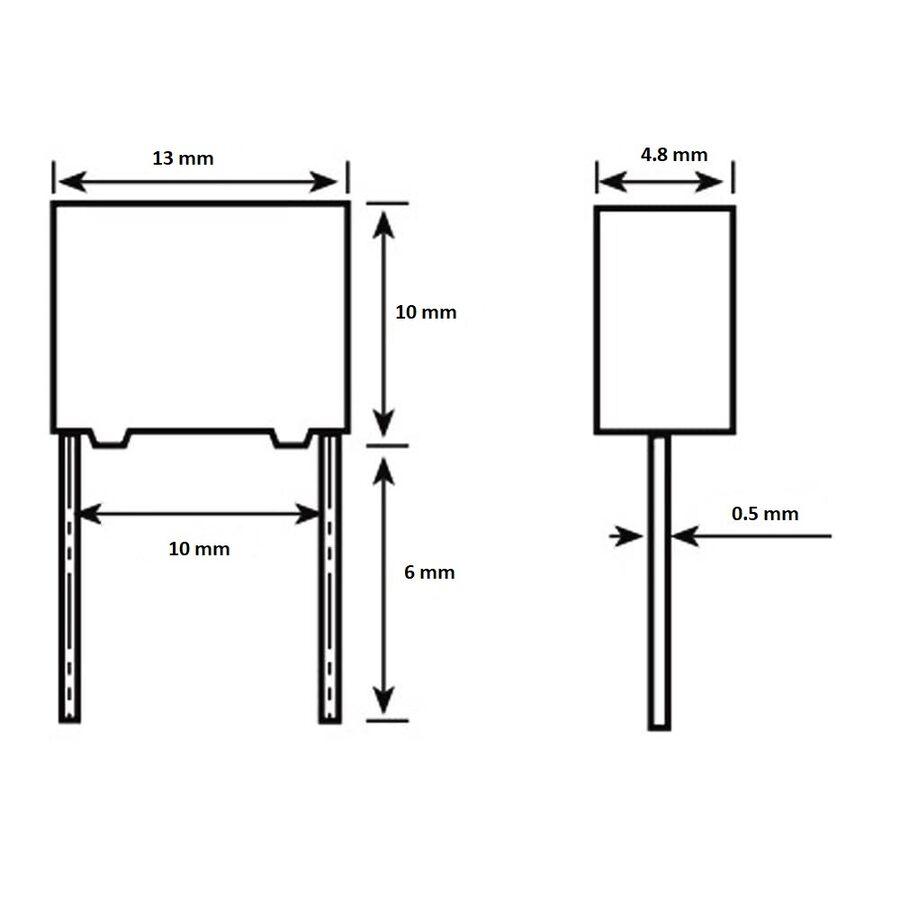 100nF 305Vac 20% Polyester Kondansatör X2 10mm