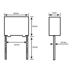 100nF 310V Polyester Kondansatör X2 15mm - Thumbnail