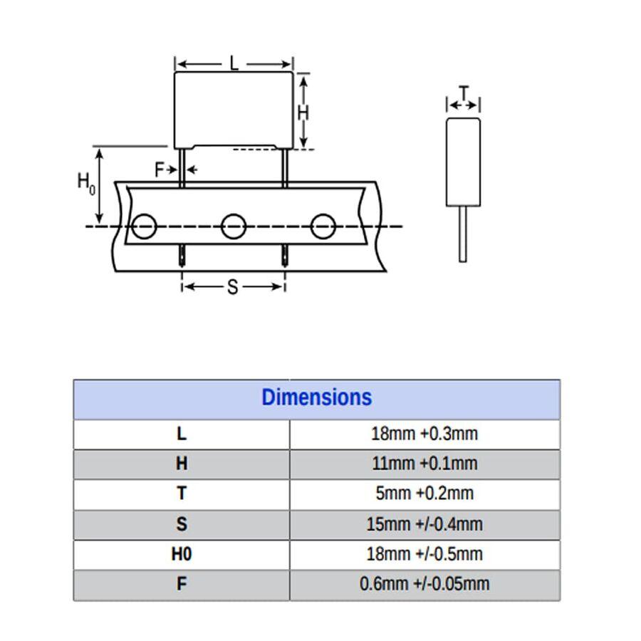 100nF 310Vac Polyester Kondansatör X2 15mm