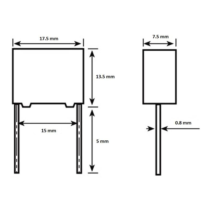 100nF 630Vdc 5% Polyester Kondansatör 15mm