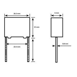 100nF 630Vdc 5% Polyester Kondansatör 22.5mm - Thumbnail