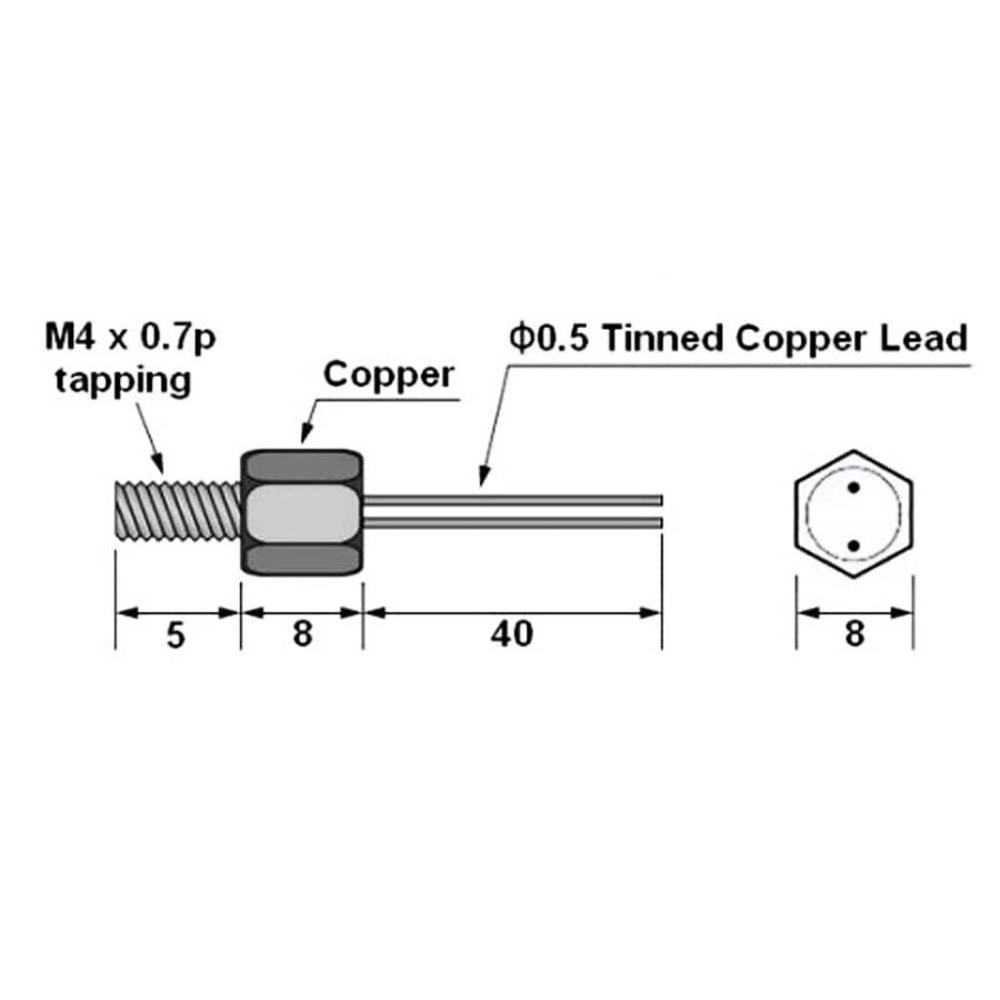 10K 8mm NTC Kablolu Termistör