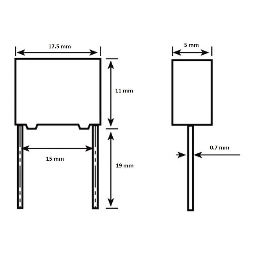 10nF 1000Vdc 5% Polyester Kondansatör 15mm