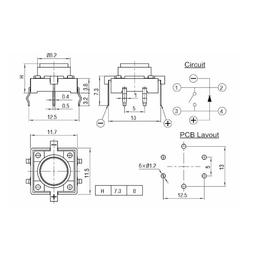 12x12 Sarı Led Işıklı Tact Switch