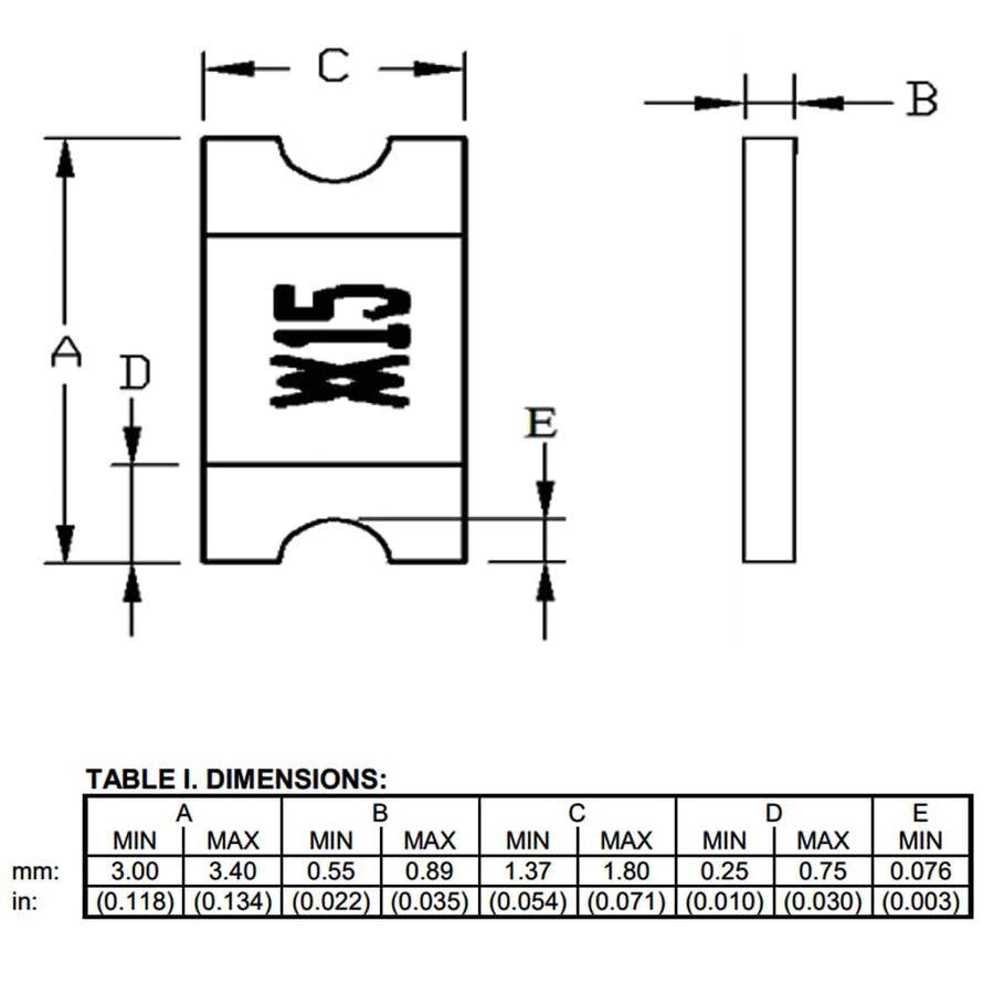 1.5A 6V Smd PTC Termistör 1206 (3216 Metrik)