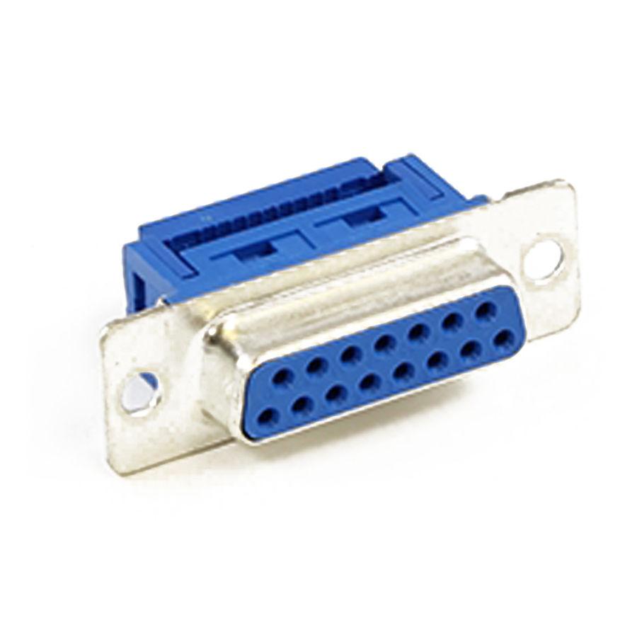 15 Pin Dişi Flat Kablo İçin Sıkıştırmalı D-Sub Konnektör