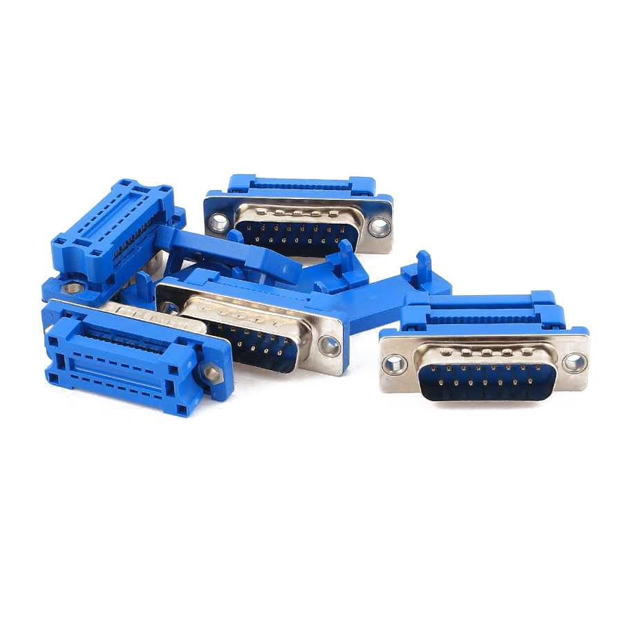 15 Pin Erkek Flat Kablo İçin Sıkıştırmalı D-Sub Konnektör