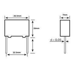 1.5uF 250Vdc 10% Polyester Kondansatör 22.5mm - Thumbnail
