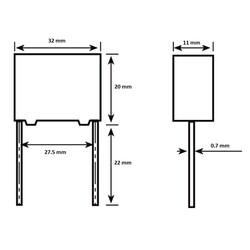1.5uF 305VAC Polyester Capacitor 27.5mm 32x20x11mm - Thumbnail