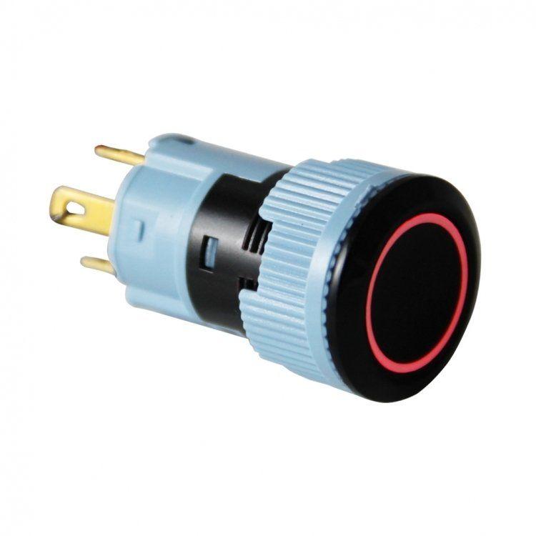 16mm Plastik LED'li Yaylı Buton - Kırmızı