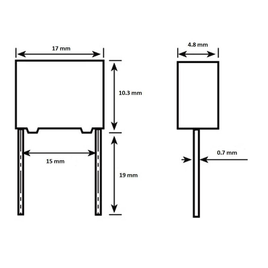 1.5nF 1600Vdc 5% Polyester Kondansatör 15mm