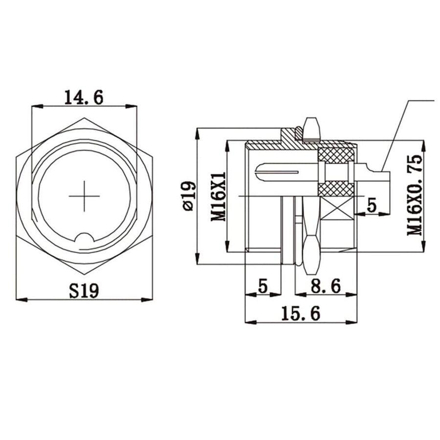 2-Pin Kablolu Erkek Mike Konnektör GX-16