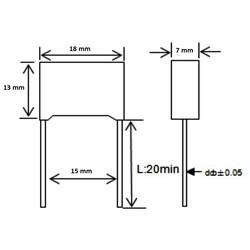 220nF 310Vac 10% Polyester Kondansatör X2 15mm - Thumbnail