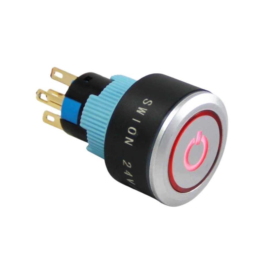 22mm Kalıcı Buton / Anahtar Power Logolu Sarı 1NO/1NC
