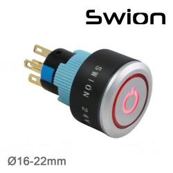 22mm Kalıcı Buton / Anahtar Power Logolu Yeşil 1NO/1NC - Thumbnail