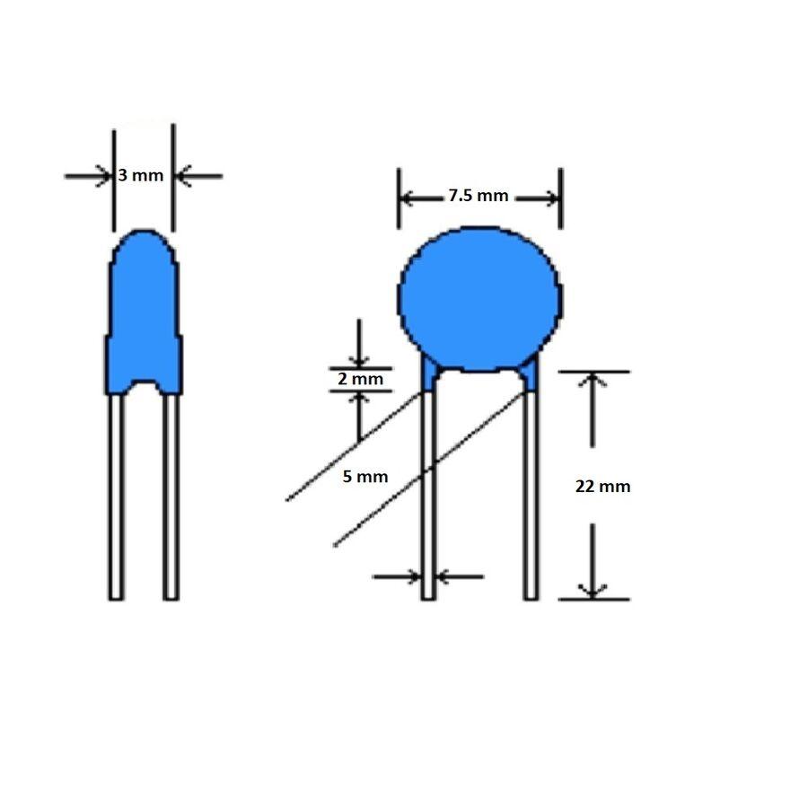 2.2nF 2000V 10% 5mm Lentil Capacitor