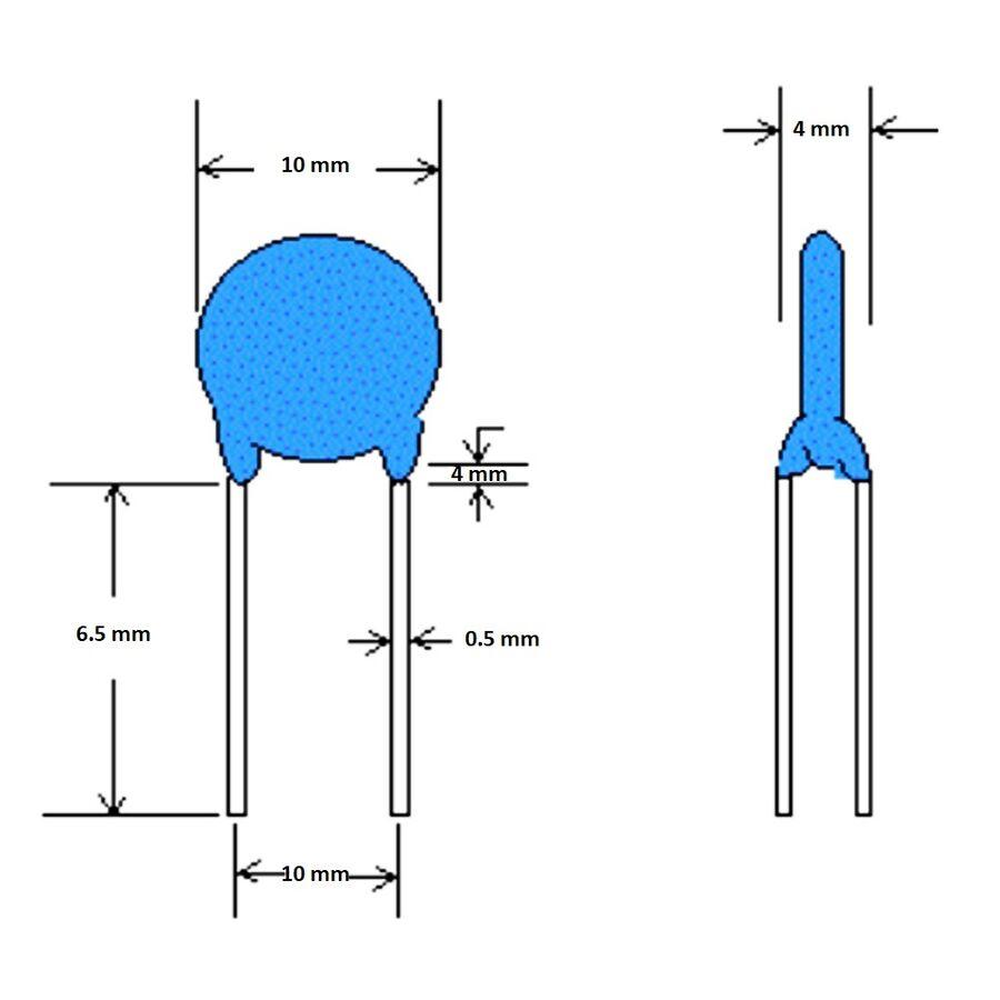 2.2nF 400Vac 20% Seramik Kondansatör 10mm