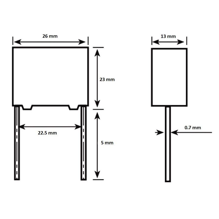 2.2uF 305VAC Capacitor 27.5mm