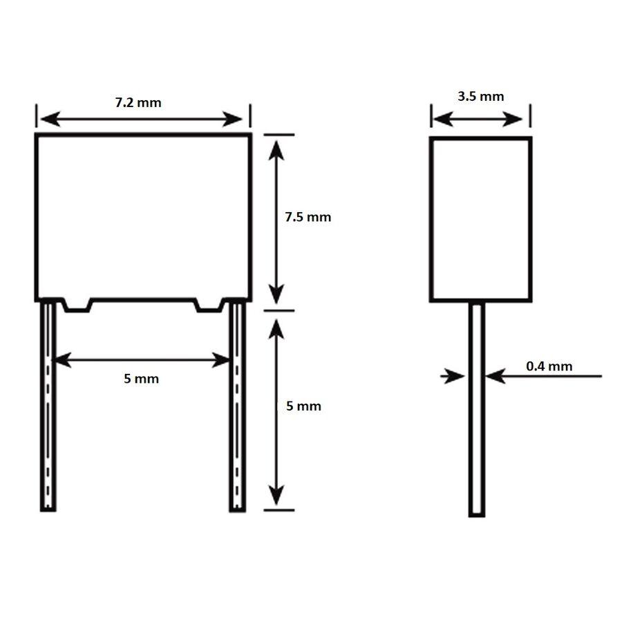 2.2nF 630Vdc 5% Polyester Kondansatör 5mm
