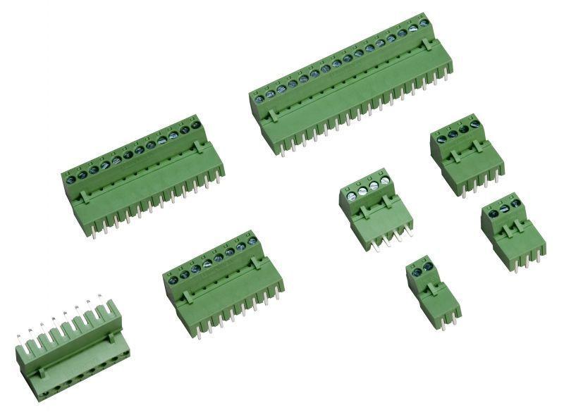 3 Pin 3.50mm 90° Erkek Geçmeli Yeşil Klemens
