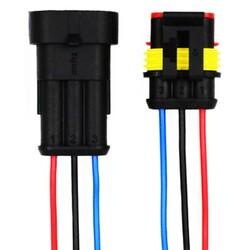 3 Pin Kablolu Su Geçirmez Konnektör Takım - Thumbnail