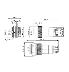 3-Pin Su Geçirmez Mike Konnektör Takım GX-16 - Thumbnail