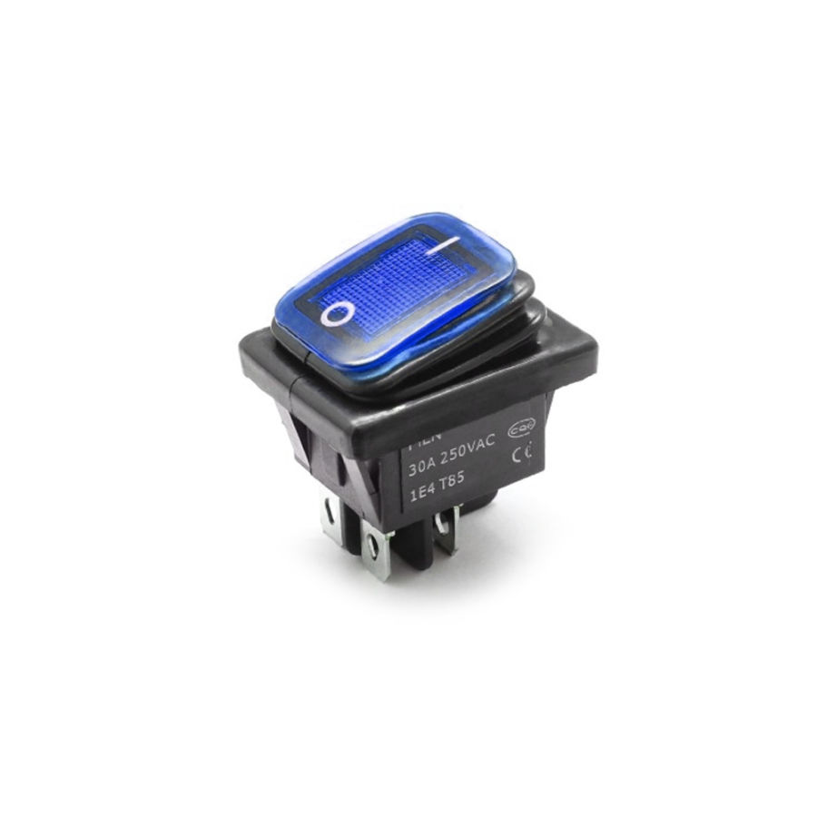 30A 250V LED ON-OFF Su Geçirmez Switch - Mavi