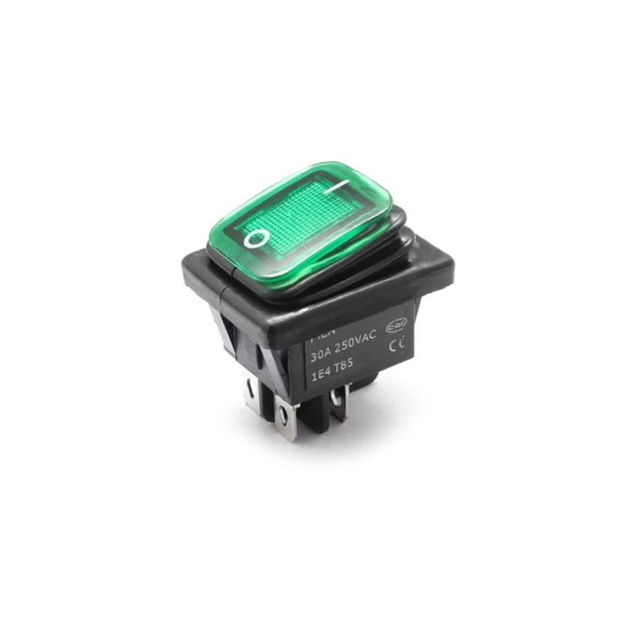 30A 250V LED ON-OFF Su Geçirmez Switch - Yeşil