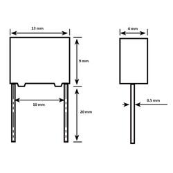 33nF 305Vac 10% Polyester Kondansatör X2 10mm - Thumbnail