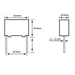 3.3uF 305Vac 10% Polyester Kondansatör X2 22.5mm - Thumbnail
