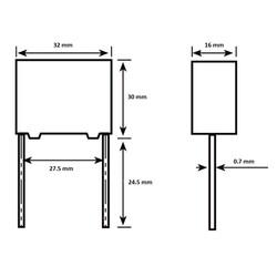 3.3uF 305VAC Polyester Capacitor 27.5mm 32x30x16mm - Thumbnail