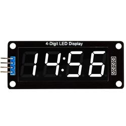 4 Digit Led Display Saat Modül TM1637 - Beyaz - Thumbnail