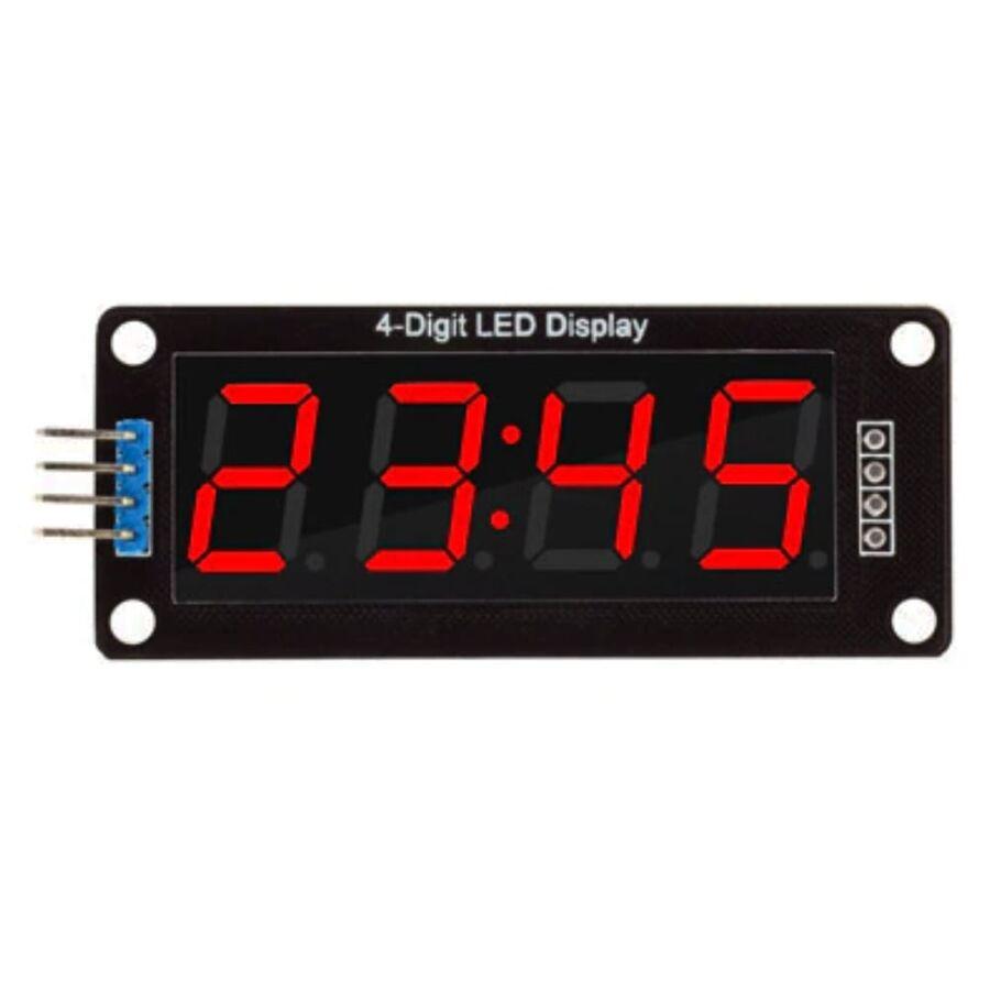 4 Digit Led Display Saat Modül TM1637 - Kırmızı