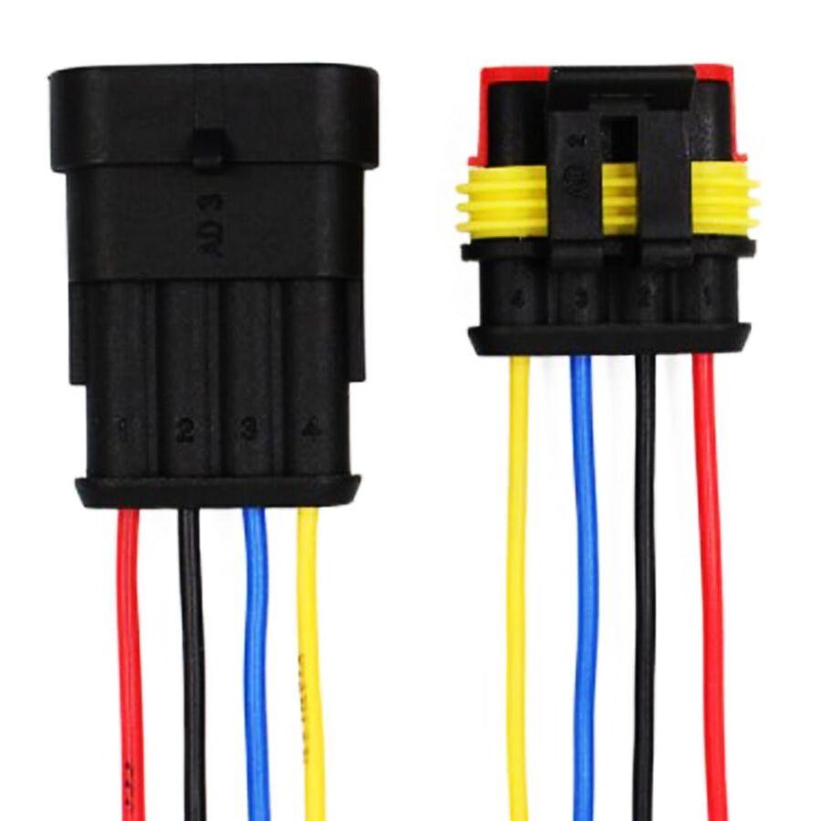 4 Pin Kablolu Su Geçirmez Konnektör Takım