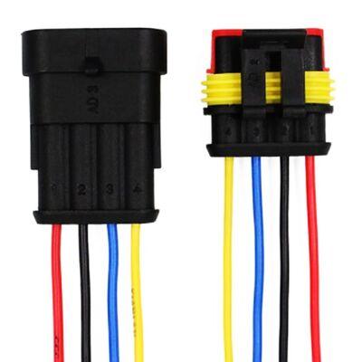EARUELETRIC - 4 Pin Kablolu Su Geçirmez Konnektör Takım