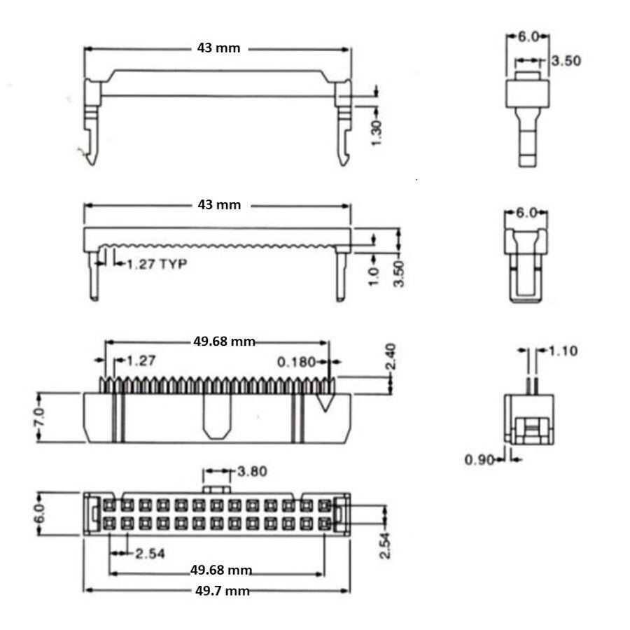 40 Pin IDC Konnektör Dişi FC-40P