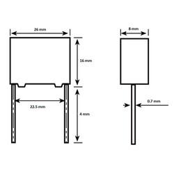 470nF 300VAC 10% Polyester Capacitor 22.5mm - Thumbnail