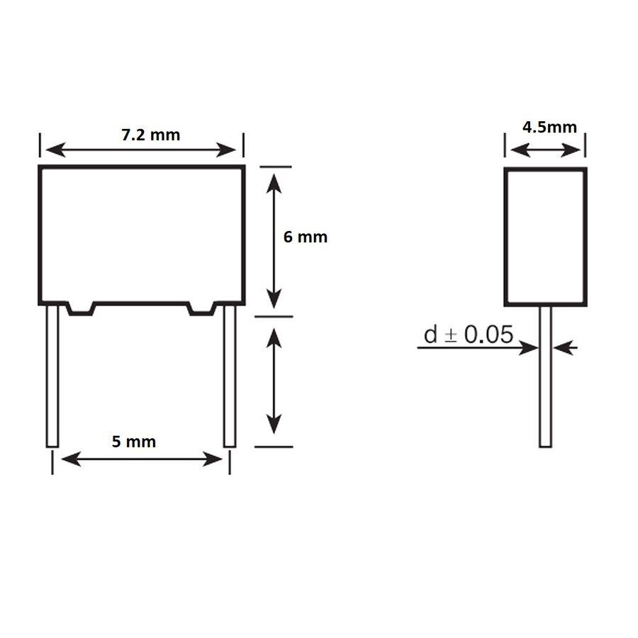 470pF 100Vdc 5% Polyester Kondansatör 5mm