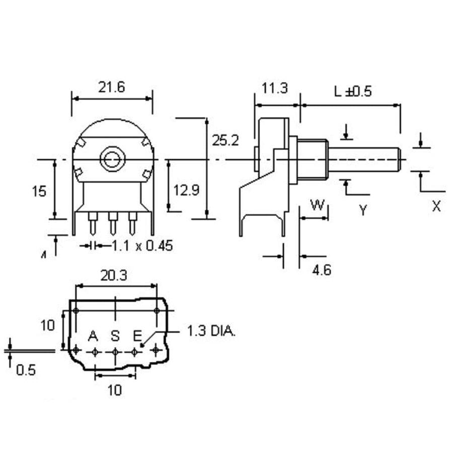 4.7K Tek Turlu Metal Potansiyometre - BR20BU-472A