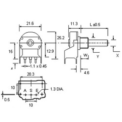 4.7K Tek Turlu Metal Potansiyometre - BR20BU-472A - Thumbnail