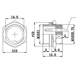 5-Pin Kablolu Erkek Mike Konnektör GX-16 - Thumbnail