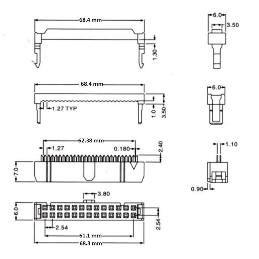 50 Pin IDC Konnektör Dişi