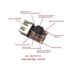 6V ~ 24V Giriş - 5V Çıkış 3A DC DC Çevirici - USB Power Modül - Thumbnail