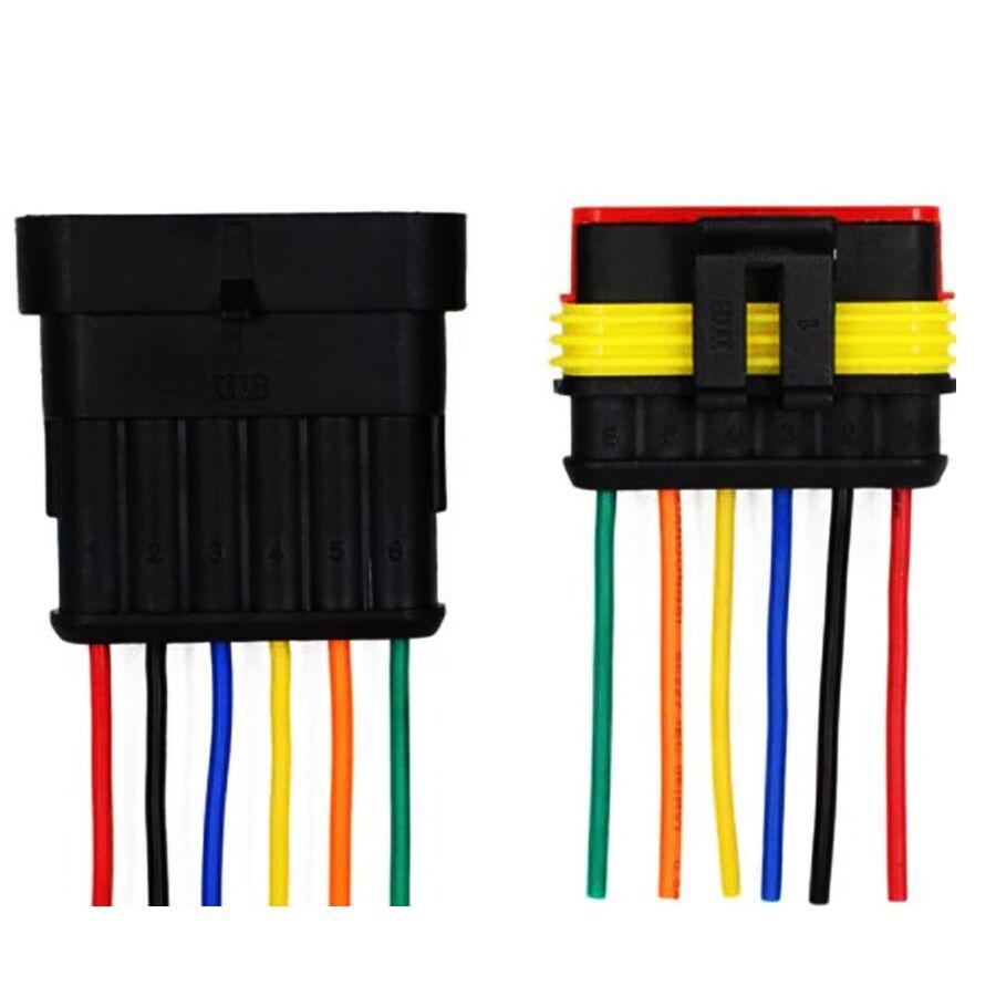 6 Pin Kablolu Su Geçirmez Konnektör Takım