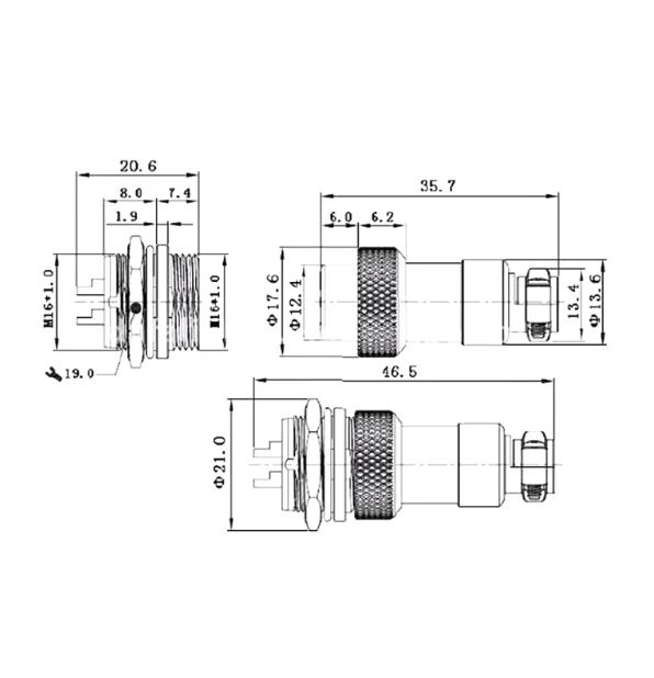 6-Pin Su Geçirmez Mike Konnektör GX-16